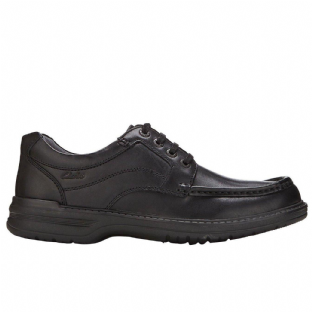 Clarks Mens Keeler Walk Black Leather Shoes